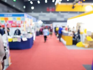 Abstract blur exhibition hall
